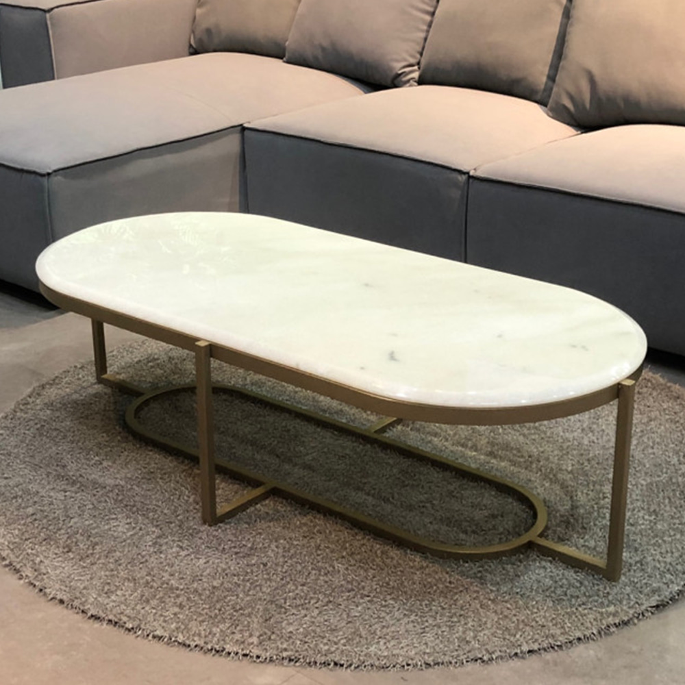 BRONZE MARBLE SOFA TABLE